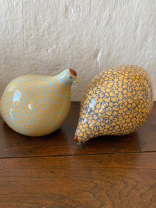 A pair of French ceramic quails