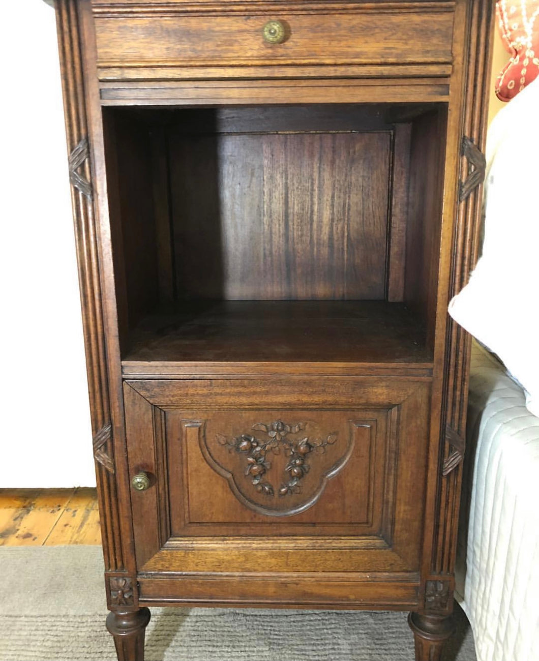 French Walnut bedside table