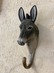 Wooden animal hook - donkey