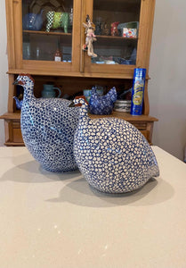 French Ceramic Guinea Fowl Medium -white & blue