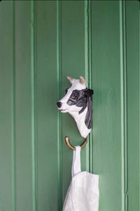 Wooden animal hook - cow