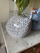 Load image into Gallery viewer, French ceramic guinea fowl white & navy MEDIUM