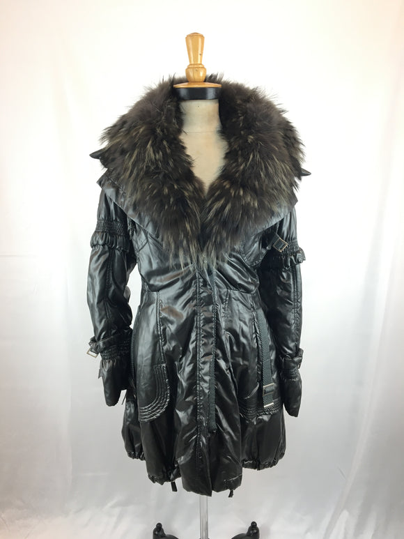 Silver Fabric Coat with Dyed Tannuki Collar