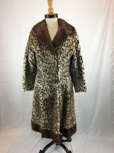 Cat-Printed Marmot Coat with Brown-dyed Marmot Trims by Feitels