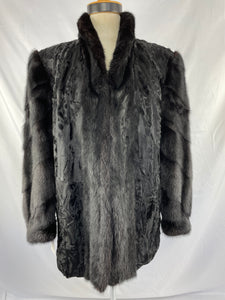 Black Dyed Persian Paw Jacket with Black Mink Trims By Bernhart Hammermann