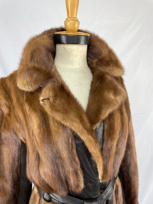 Stranded Demi-buff Mink And Leather Coat with Belt