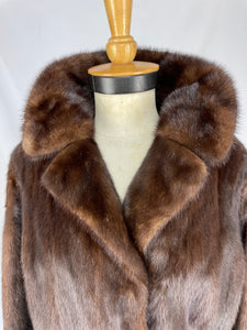 Fully Stranded Natural Ranch Mink Coat with Trench Cuffs
