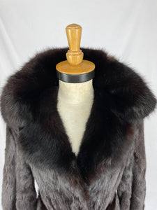 Fully Stranded Black Dyed Mink Coat with Black Dyed Sable Collar by Alan Cherry