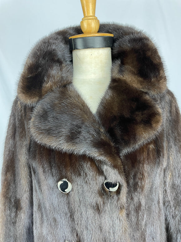 Fully Stranded Black Diamond Double Breasted Mink Coat With Belt