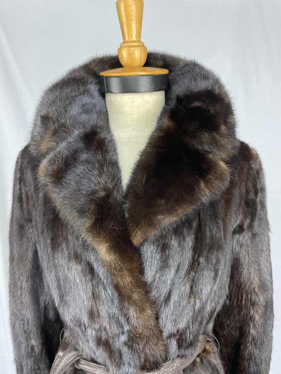 Stranded Natural Black Diamond Mink Coat With Buttons and Belt