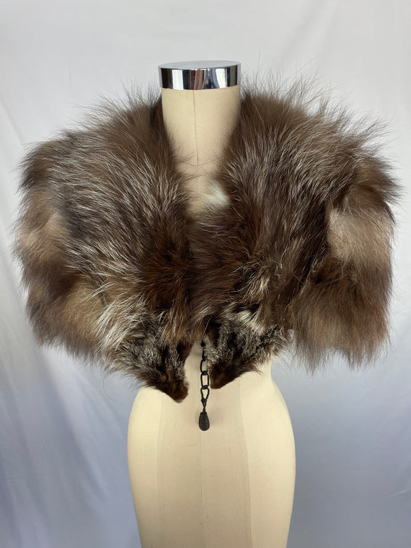 Vintage Natural Silver Fox Capelet
