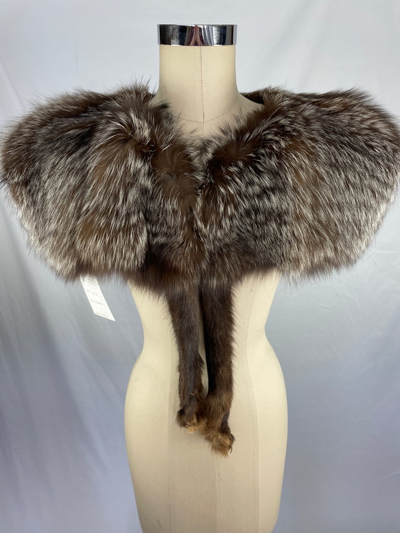 Vintage Natural Silver Fox Capelet By Menton's