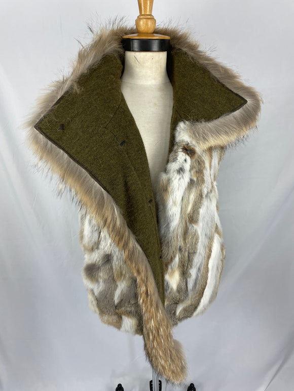 Natural Rabbit Segment Vest with Coyote Trim