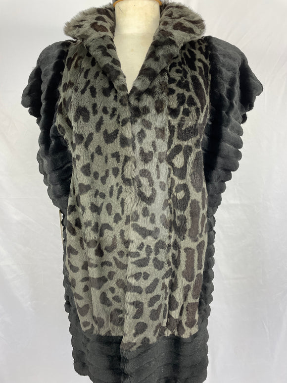 Shorn and Grooved Green Dyed Cat Printed Vest by Siberian Fur