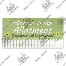 Load image into Gallery viewer, Welcome to my Allotment- wooden hanging sign