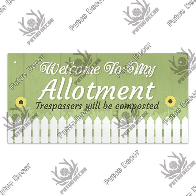 Welcome to my Allotment- wooden hanging sign