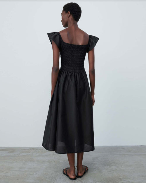 TEA LENGTH SMOCK DRESS / BLACK