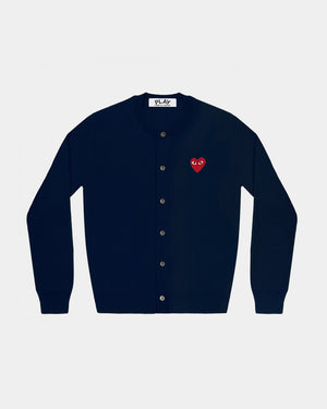 WMN'S CARDIGAN N007 RED HEART PATCH / NAVY