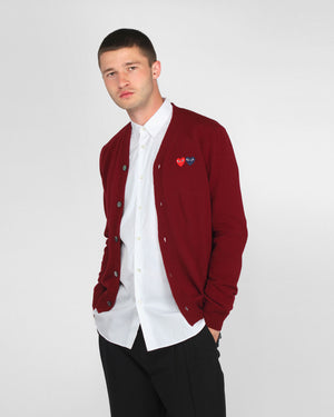 MEN'S CARDIGAN N058 DOUBLE HEART / BURGUNDY