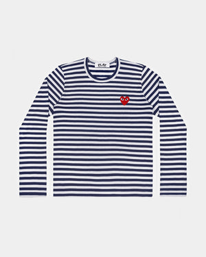 WMN'S T-SHIRT T009 LS STRIPE RED HEART PATCH / NAVY