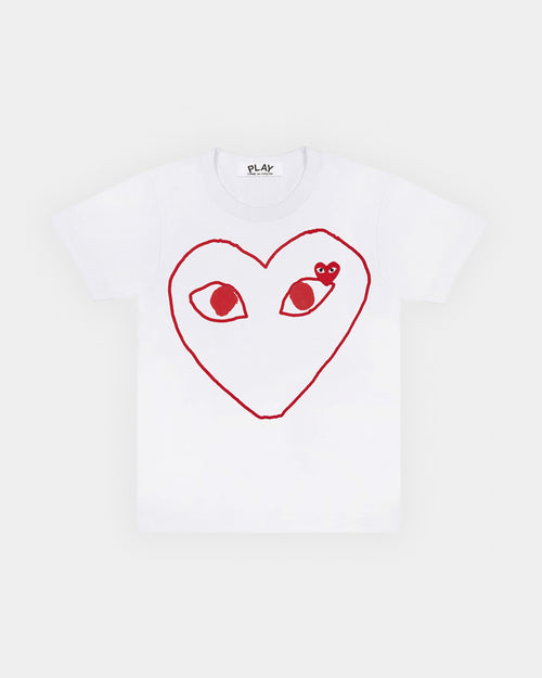 WMN'S T-SHIRT T099 RED HEART OUTLINE / WHITE