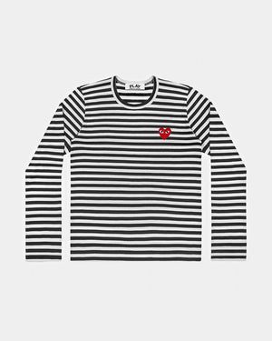 WMN'S T-SHIRT T163 LS STRIPE RED HEART PATCH / BLACK