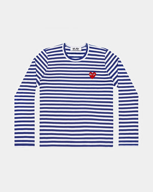 MEN'S T-SHIRT T164 LS STRIPE RED HEART PATCH / NAVY BLUE