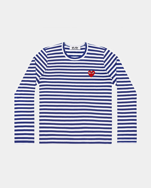 MEN'S T-SHIRT T164 LS STRIPE RED HEART PATCH / NAVY