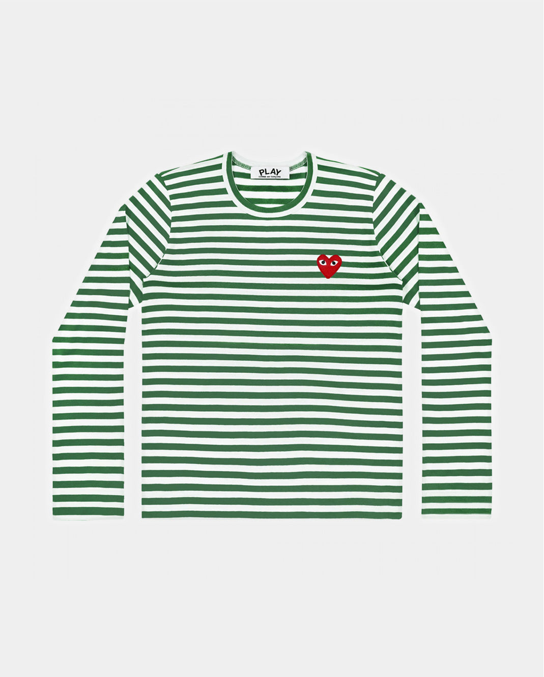 T-SHIRT T163 LS STRIPE RED HEART PATCH / GREEN & WHITE