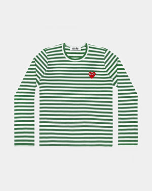 MEN'S T-SHIRT T164 LS STRIPE RED HEART PATCH / GREEN