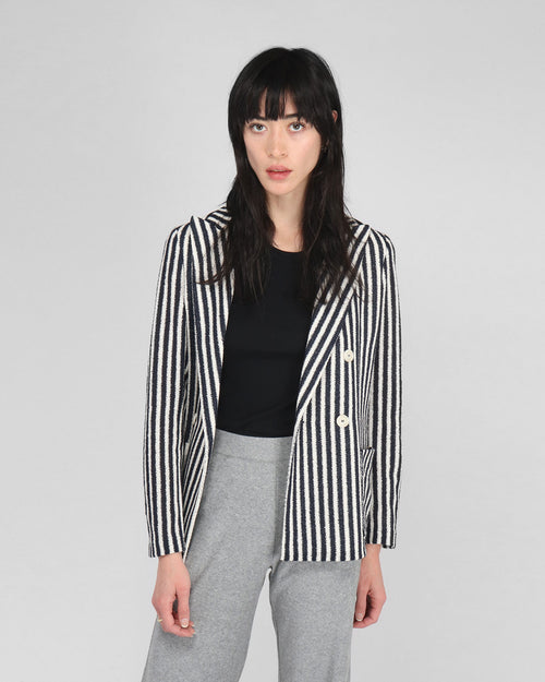 PEAK LAPEL BLAZER / NAVY STRIPES