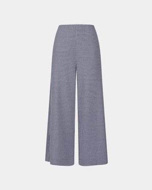 WIDE LEG CROPPED TROUSERS VICHY / NAVY