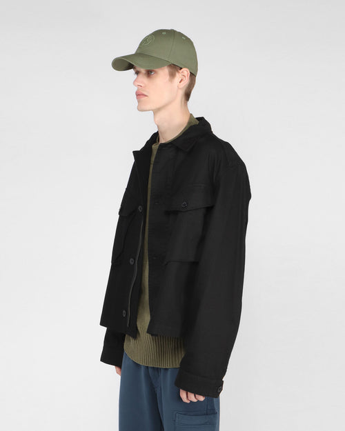 CROPPED ARMY JACKET / DRILL BLACK