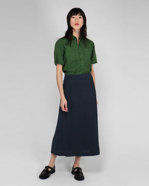 SIDE PLEAT SKIRT / BLUE