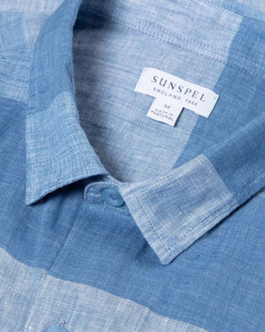 S/S LINEN SHIRT / BLUE STRIPES