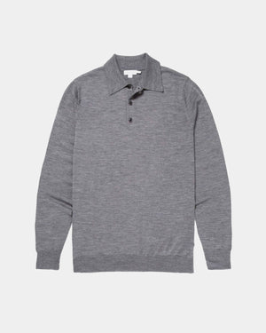L/S POLO SHIRT / MID GREY MELANGE