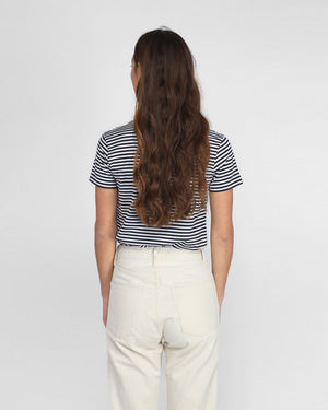 S/S CREW NECK T-SHIRT / NAVY STRIPE