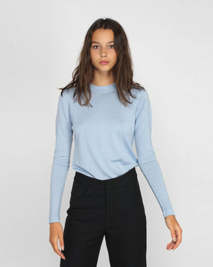 MERINO CREW NECK JUMPER / BLUE