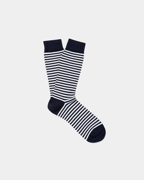 COTTON SOCKS / NAVY  STRIPE