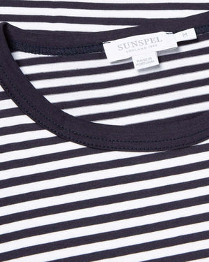S/S CREW NECK T-SHIRT / WHITE/ NAVY