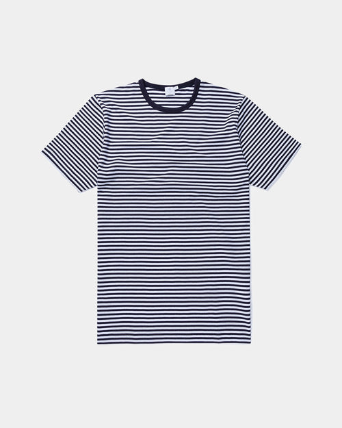 S/S CREW NECK T-SHIRT / WHITE NAVY STRIPE