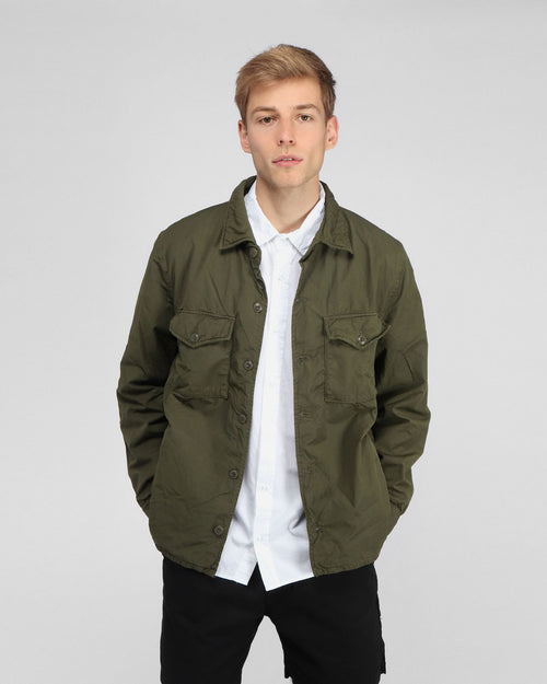 MEN'S FLEECE LINED SHIRT JACKET / OLIVE