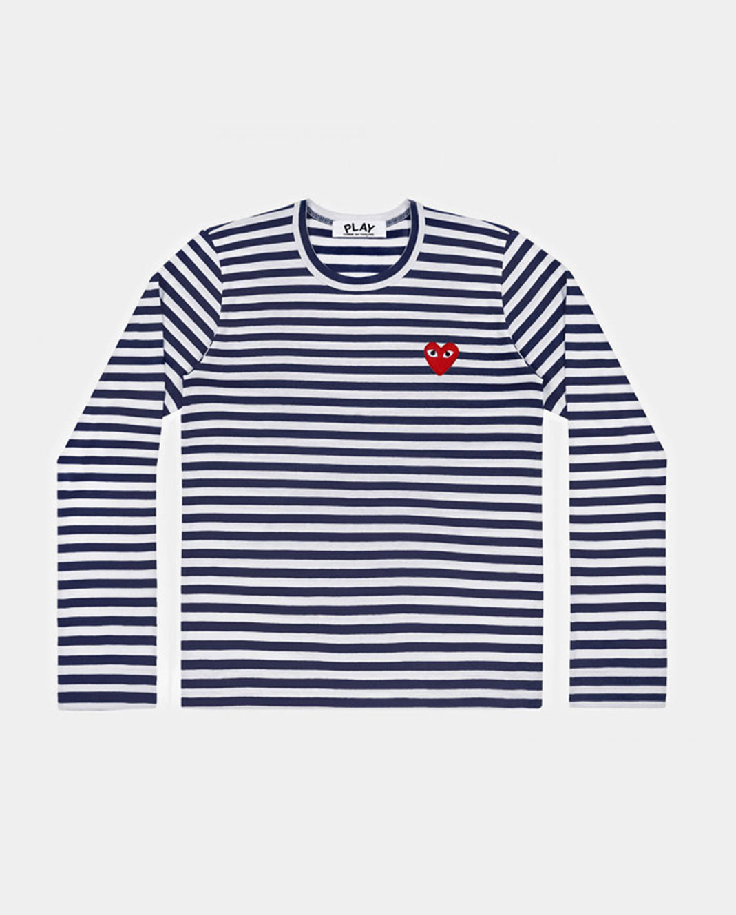 T-SHIRT T010 LS STRIPE RED HEART PATCH / NAVY