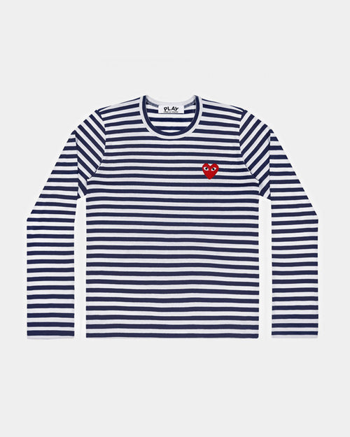 MEN'S T-SHIRT T010 LS STRIPE RED HEART PATCH / NAVY