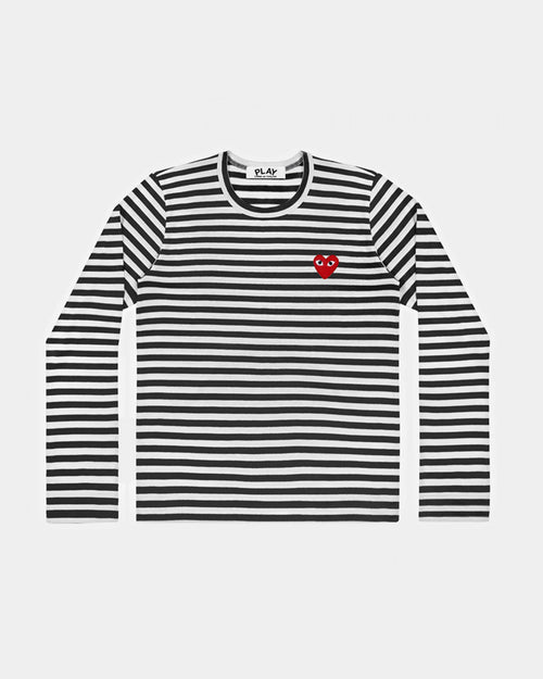 MEN'S T-SHIRT T164 L/S STRIPE RED HEART PATCH / BLACK