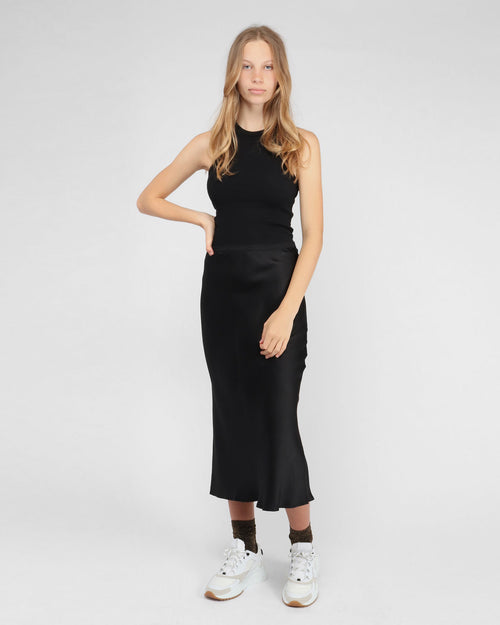 BAR SILK SKIRT / BLACK