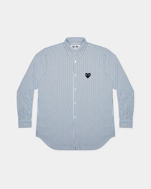 WMN'S SHIRT B019 / BLUE BLACK STRIPE