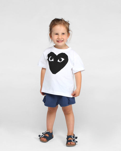 KIDS BIG BLACK HEART T-SHIRT T569 / WHITE