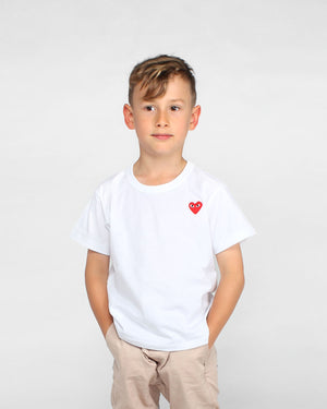 KIDS MINI RED HEART T-SHIRT T501 / WHITE