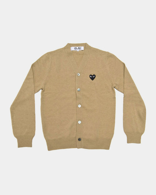 MEN'S CARDIGAN N024 BLACK HEART PATCH / BEIGE